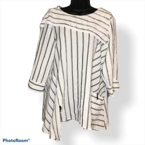 Moonlight White Stripped Mid Sleeve Blouse